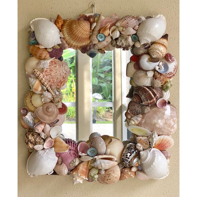 Champagne Vintage Coastal Artist Made Shell Mirror For Sale - Image 8 of 8