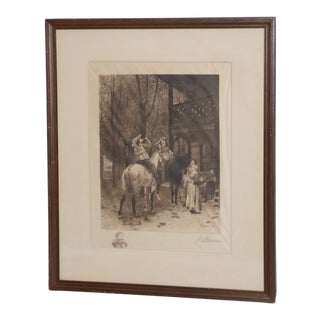 "Jean-Louis Ernest Meissonier ""The Roadside Inn"" Etching C.1876 For Sale"