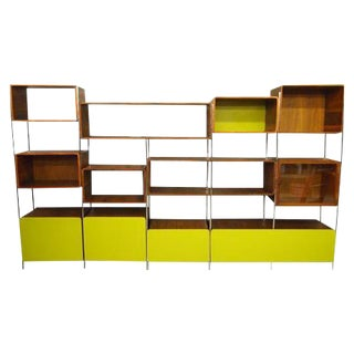 Vintage John Tappert Walnut Modern Shelving Wall Unit