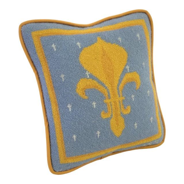 Vintage Fleur-De-Lis Petite Needlepoint Pillow For Sale
