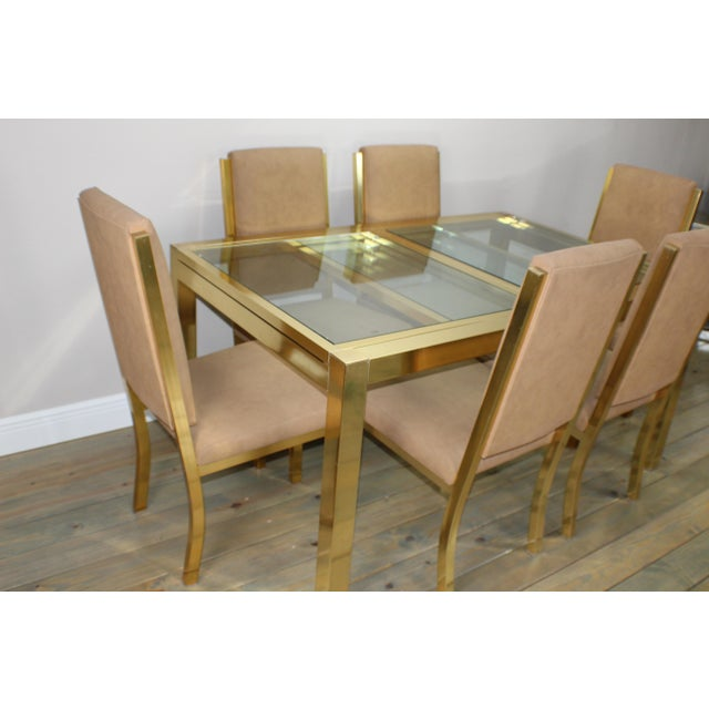 DIA - Design Institute America 1990s Mid-Century Modern Brass Dining Table and Chairs - 7 Piece Set For Sale - Image 4 of 11