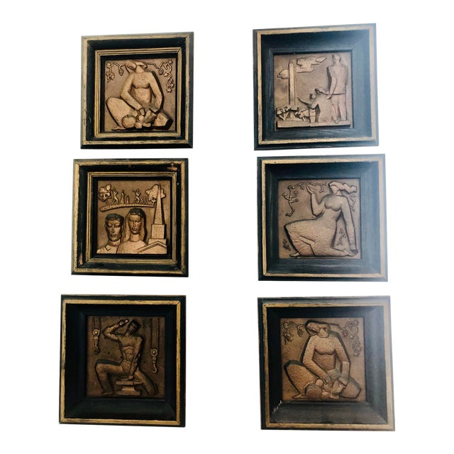 1940s Bronze Wpa Plaques - Set of 6 For Sale