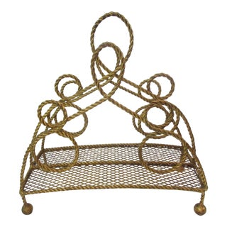 Gilt Rope Magazine Rack in the Style of Maison Jansen
