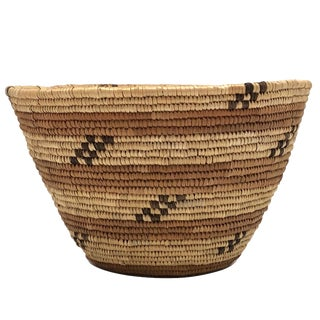 Salish Style Northwest Coast Native Tightly Coiled Handwoven Grass Basket For Sale