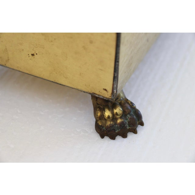 Rectangular Brass Paw Foot Planter For Sale - Image 5 of 6