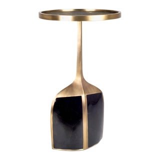 Pedestal Table Large in Black Shagreen, Shell, and Brass by R&y Augousti For Sale