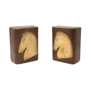 Vintage Brown and Gold Leather Horse Head Bookends - a Pair Preview