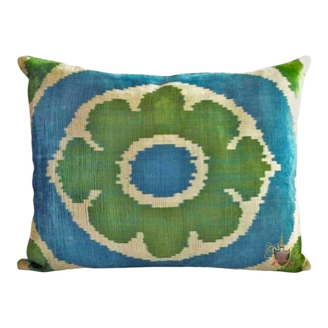 Belgian Silk Velvet Down Feather Accent Pillow For Sale