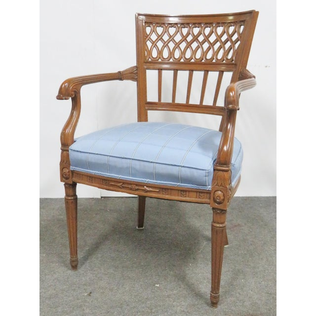 Italian Italian Style Carved Fruitwood Arm Chair For Sale - Image 3 of 7