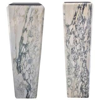 Louis XVI Style Calcutta Marble Pedestals / Jardinieres - a Pair For Sale