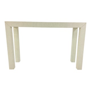 Parsons Linen Covered Off-White Console Table For Sale
