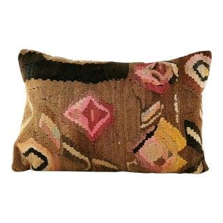 Turkish Pink Garden Vintage Kilim Pillow For Sale