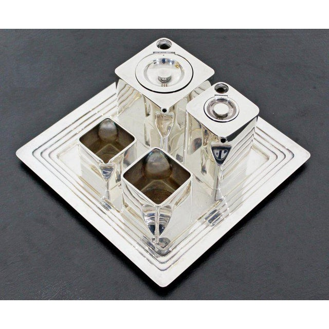 """For your consideration is a beautiful, electroplated metal, """"Cube"""" tea set, with a pot, hot water holder, and milk and..."""