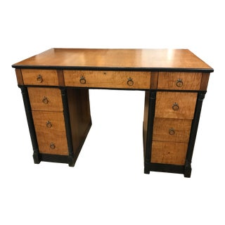 Antique California Curly Maple Walnut Restored Knee Hole Writing Empire Small Desk For Sale
