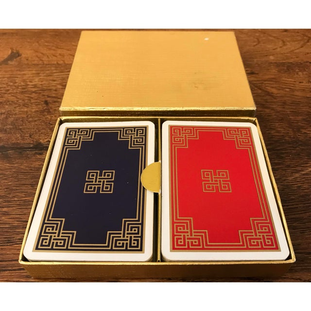 Mid 20th Century Vintage Greek Key Boxed Set Playing Card Decks For Sale - Image 5 of 9