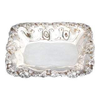 Embossed Heavy Grape Pattern Silver Dish For Sale