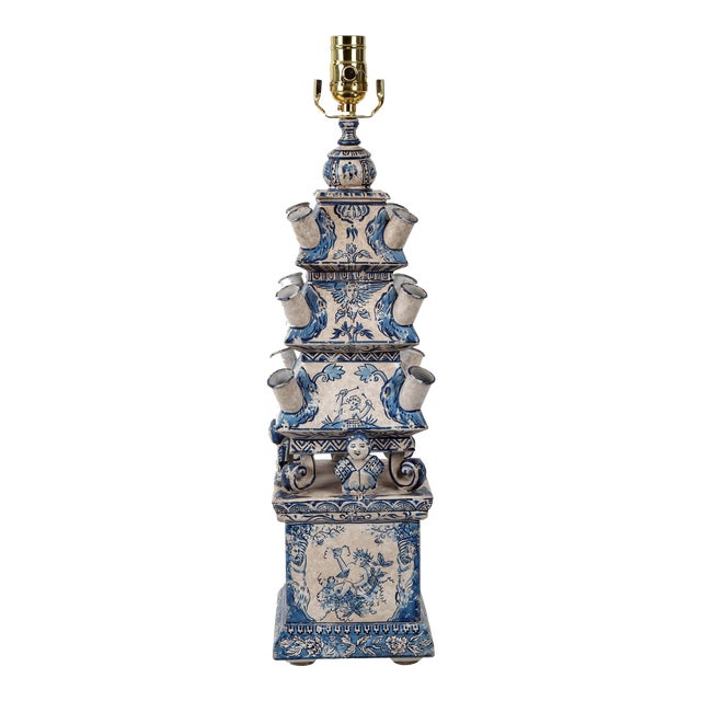 Vintage Dutch Blue and White Style Pagoda Hand-Painted Table Lamp For Sale
