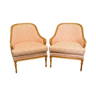 Quality Pair of Barrel Back Regency Style Bergere Lounge Chairs For Sale
