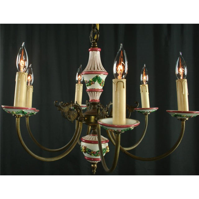 Vintage Italian Raised Capodimonte Chandelier - Image 2 of 8