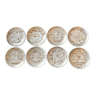 """Mid-Century Modern """"Mitología"""" Coasters by Piero Fornasetti - Set of 8 For Sale"""