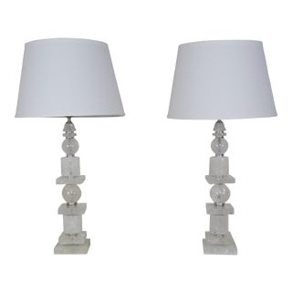 Pair of Sculptural Rock Crystal Quartz Lamps w/ Linen Shades