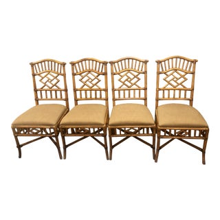 Vintage Mid Century McGuire Style Dining Side Chairs- Set of 4 For Sale