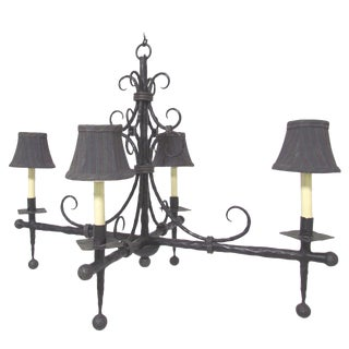 French Modernist Wrought Iron Chandelier For Sale