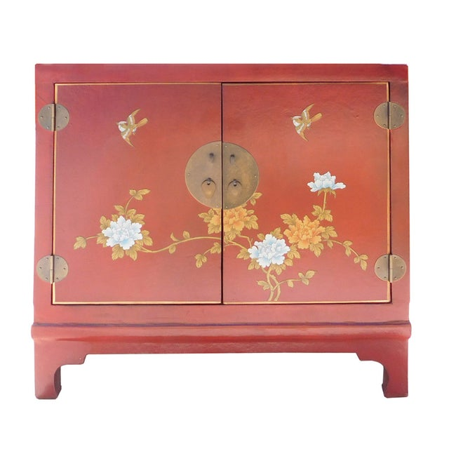 Oriental Red Vinyl Flower Side Table Cabinet - Image 1 of 7