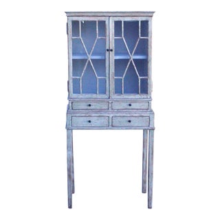 Oriental Shabby Chic Rustic Off White Cream Lacquer Glass Cabinet For Sale