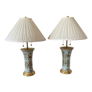 Mario Buatta for Frederick Cooper Hand Painted Japanese Porcelain Lamps With Shade - a Pair For Sale