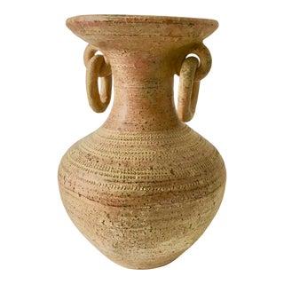 Vintage Terra Cotta Textured Vase For Sale