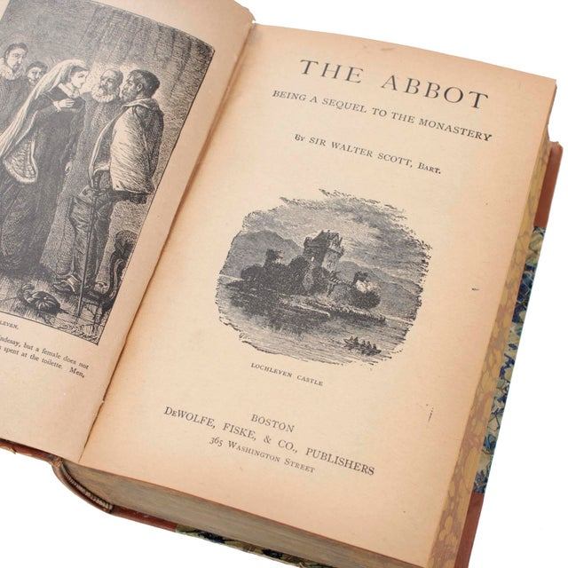 Victorian English Leather Bound Books, Scott Waverly Novels Circa 1880s, Set of 10 For Sale - Image 3 of 9