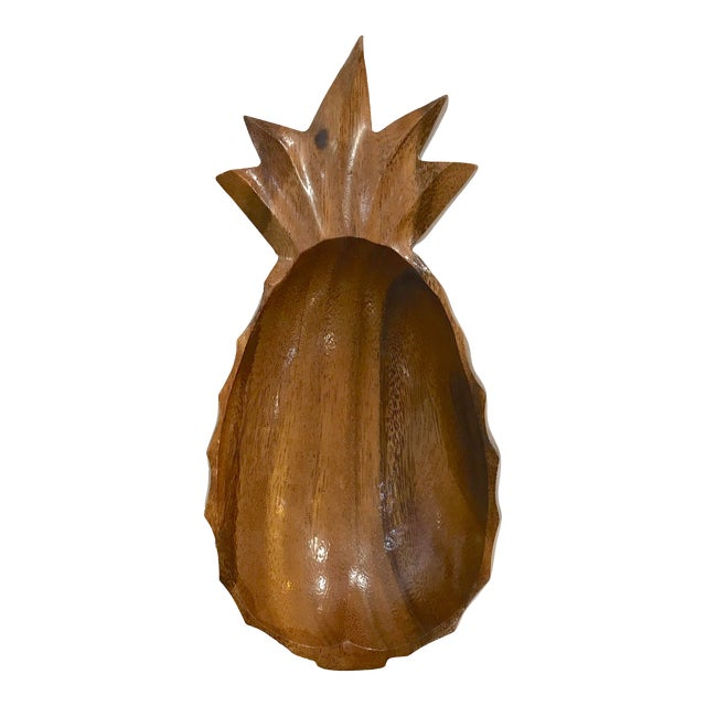 Mid 20th Century Wood Pineapple Catchall Bowl For Sale