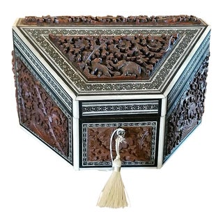 19c Anglo Indian Carved Padouk and Sadeli Stationary Box For Sale
