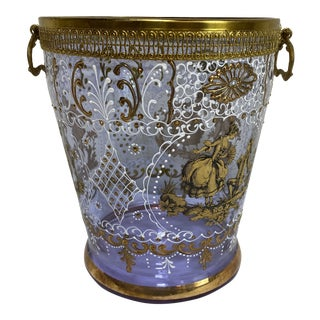 Hand Painted Venetian Glass & Brass Ice Wine Bucket For Sale
