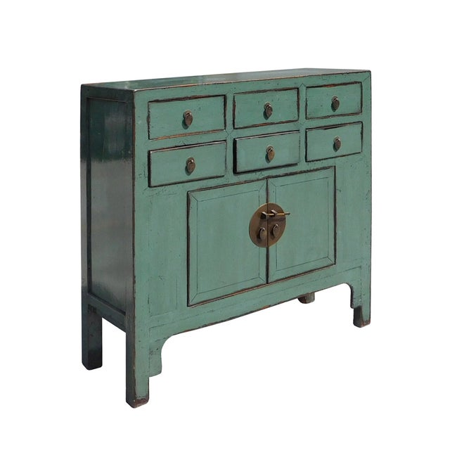 Asian Gray Blue Lacquer 6-Drawer Credenza Cabinet For Sale - Image 3 of 6
