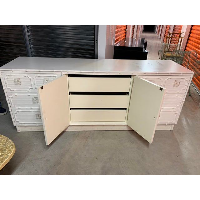 Faux Bamboo Dresser With Lucite Knobs For Sale - Image 4 of 12