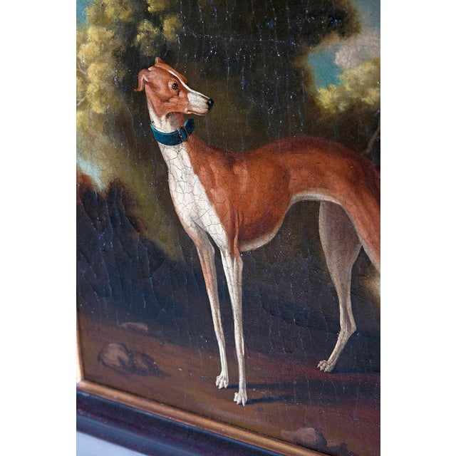 19th Century English Oil on Canvas of Whippet in a Landscape For Sale - Image 4 of 13