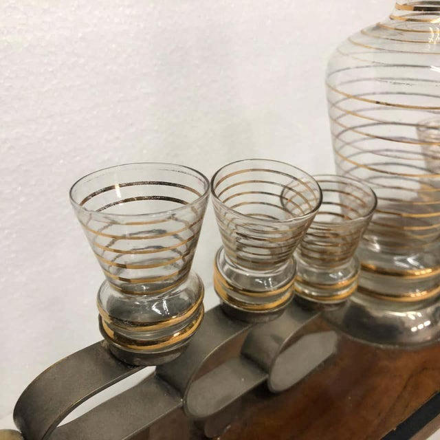 1930s Italian Art Deco Glass and Wood Liquor Set on Stand - Set of 7 For Sale - Image 9 of 13