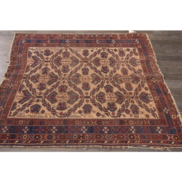 Hand-knotted rug with a geometric design on a blue field with brown borders. This rug has magnificent detailing and would...