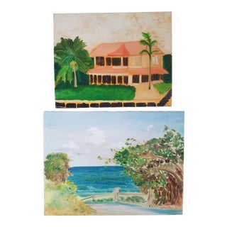 Contemporary Tropical Style Paintings - A Pair For Sale