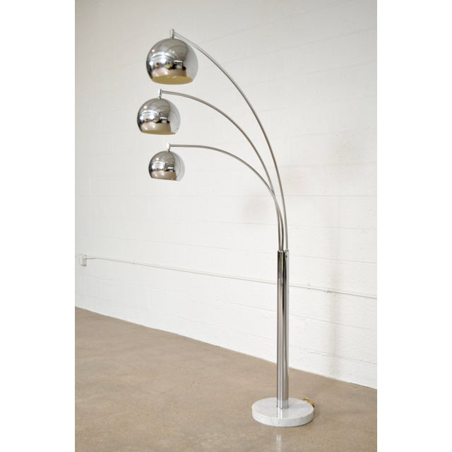Mid Century Sonneman Style 3 Light Chrome Arc Floor Lamp with Marble Base - Image 3 of 11