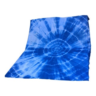 Hand Dyed Indigo Shibori Cotton Blanket For Sale