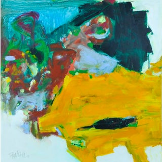 """""""Ochre With Greens"""" Contemporary Abstract Expressionist Painting by Robbie Kemper For Sale"""