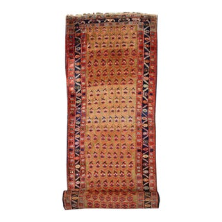 Late 19th Century Antique Persian Kurd Carpet Runner, Long Persian Runner For Sale
