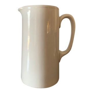 1930s Tall White Ironstone Pitcher For Sale