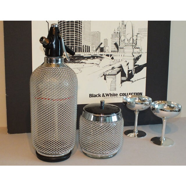 Vintage Wire Mesh Siphon Bottle & Ice Bucket -Pair - Image 11 of 11