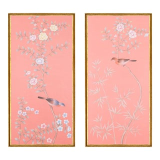 "Jardins en Fleur ""Luton House"" Chinoiserie Hand-Painted Silk Diptych by Simon Paul Scott in Italian Gold Frame - a Pair For Sale"