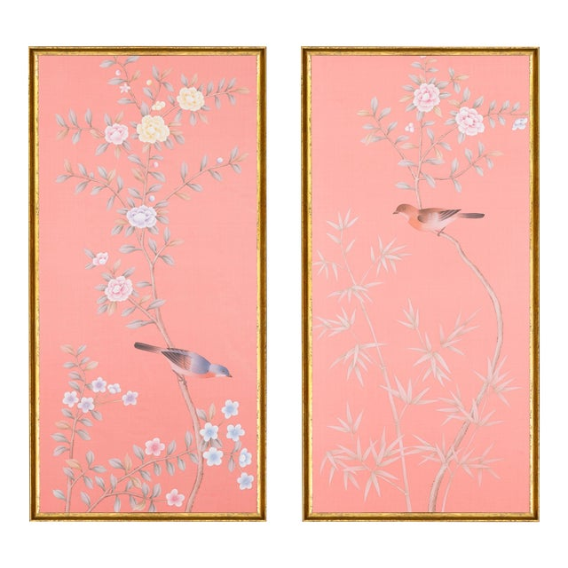 "Jardins en Fleur ""Luton House"" Chinoiserie Hand-Painted Silk Diptych by Simon Paul Scott in Italian Gold Frame - a Pair For Sale"