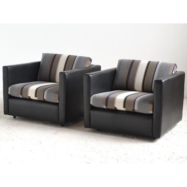 Pair of Pfister Lounge Chairs by Knoll in Leather and Fabric - Image 2 of 8